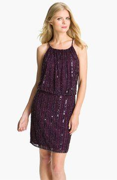 Great Bachelorette Party or Cocktail Dress. Pisarro Nights Sequin & Bead Blouson Dress