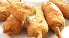 Learn how to make these awesome jalapeno poppers stuffed with cream and shredded cheese and BACON!! Double breaded and deep fried, these are sure to be a hit for your family or next get together! Perfect appetizer for parties, the Super Bowl, football games or just as a snack for the kids. See how to make them here: http://youtu.be/0-9mOsuPOTI