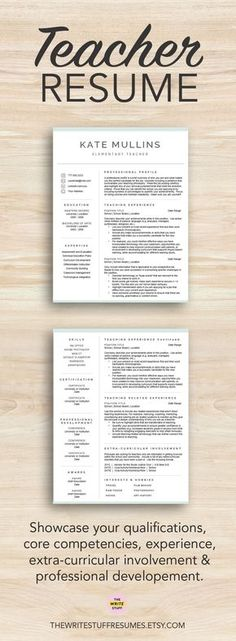 Teacher Resume Template for Word, 1-3 Page Resume + Cover Letter + - resume template for educators