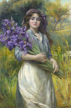 ► Norman Prescott-Davies (British, fl.1880-1910) - Mujer con un ramo de liriosss