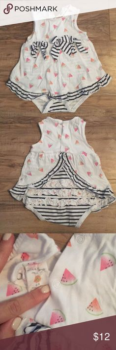 Starting Out watermelon dress Adorable watermelon one piece dress. The back detail is adorable! Gently used! Starting Out One Pieces Bodysuits