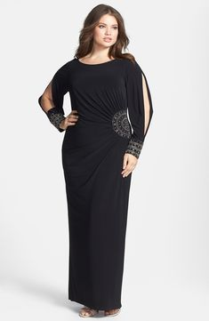 Free shipping and returns on Xscape Embellished Stretch Jersey Long Dress (Plus Size) at Nordstrom.com. Feel like the goddess you are in a long, svelte gown crafted of polished stretch jersey. Pleats radiate from the side embellishment, bringing flattering dimension to the style, while wide embellished cuffs anchor the split long sleeves.