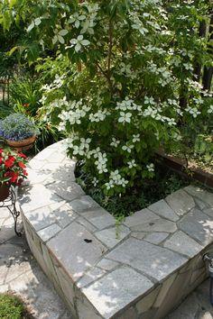 石貼り、タイル、ベンチ、植木、