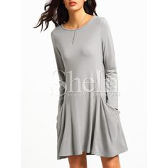 SheIn(sheinside) Grey Long Sleeve Pockets Casual Dress ($8.89) ❤ liked on Polyvore featuring dresses, grey, long-sleeve maxi dress, t shirt dress, long sleeve shift dress, short-sleeve shift dresses and long-sleeve shift dresses