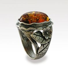 Amber statement ring - Sterling silver woodland ring amber gemstone, floral ring, statement ring - On a sunny day