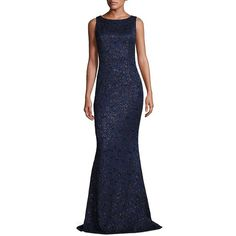 Carmen Marc Valvo Sleeveless Lace Gown ($2,995) ❤ liked on Polyvore featuring dresses, gowns, apparel & accessories, midnight, blue evening gown, lace gown, lace evening dresses, blue lace dress and lace ball gown
