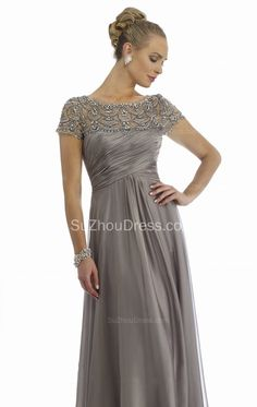 Grey Mother of the Bride Dresses Scoop Beading Floor Length Elegant Zipper A Line Chiffon Evening Gowns