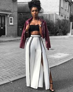 Wide Slit Pants Will Make You Look Fabulous This Fall - Look By Jourdan Riane Shop The Look: Catalina Wide Slit Pants by Fashion Nova , Moto Jacket by bershkacollection , Watch by paul_hewitt Wide Slit Pants Will Make You Look Fabulous