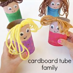Create this cardboard tube family craft to encourage pretend play, vocabulary development, and more during your preschool family theme activities.