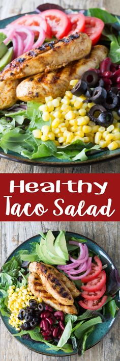 All the flavors of #tacos in a #healthy #salad with a tasty #cilantro-lime vinaigrette. Try my Healthy #Taco #Salad with Cilantro-Lime Vinaigrette!