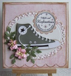 First Communion Cards, Baby Mini Album, Homemade Greeting Cards, Star Cards, Mft Stamps, Shabby, Marianne Design, Handmade Birthday Cards, Diy Cards