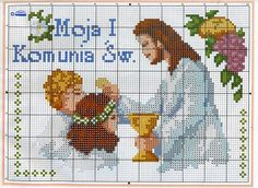 Communion with Jesus cross stitch pattern - free cross stitch patterns crochet knitting amigurumi Cross Stitch Charts, Cross Stitch Patterns, Crochet Patterns, Minnie Baby, Origami 3d, Religious Cross, Jesus On The Cross, First Communion, Pixel Art