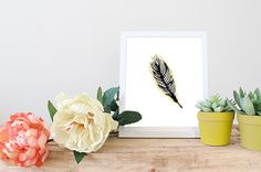 Black feather with Gold Tip Art Print, Art Printable, Affordable Art, Gifts under 5 by GoldByCafeInk on Etsy
