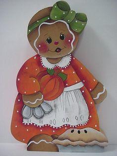 HP~~Gingerbread Girl Baking a Thanksgiving Pie  ~~  SHELF Sitter