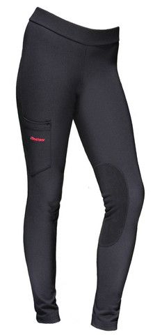 Rackers Black Riding Tights. With a cargo POCKET!!! Sadly, a feature that is way too difficult to find! And no velcro. Too bad the knee patch isn't deerskin, but otherwise, these look like fantastic breeches. Made in the USA.