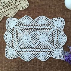 2 pcs Wedding centerpieces crochet doilies for wedding oblong table mat coasters #Handmade