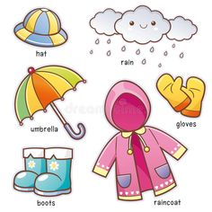 Find Vector Illustration Cartoon Rain Clothes Vocabulary stock images in HD and millions of other royalty-free stock photos, illustrations and vectors in the Shutterstock collection. Thousands of new, high-quality pictures added every day. Learning English For Kids, English Lessons For Kids, Kids English, Learn English Words, English Language Learning, Toddler Learning, Teaching Kids, Teaching Weather, Preschool Worksheets