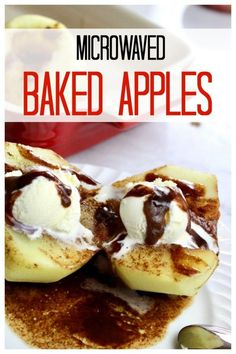 Easy quick and delicious baked apples made in the microwave! If you love the taste of apple pie this is the healthier but still delicious alternative. Takes only minutes to make! Quick Apple Dessert, Apple Dessert Recipes, Apple Recipes, Easy Desserts, Sweet Recipes, Holiday Recipes, Delicious Desserts, Yummy Food, Three Ingredient Recipes