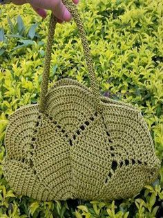 """New Cheap Bags. The location where building and construction meets style, beaded crochet is the act of using beads to decorate crocheted products. """"Crochet"""" is derived fro Free Crochet Bag, Knit Or Crochet, Crochet Bags, Crochet Gratis, Crochet Chart, Crochet Flower, Crochet Handbags, Crochet Purses, Knitted Bags"""