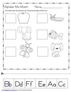Freebie: First Sound Match-Maggie's Kinder Corner: Need more letter sound activities? Here is my Alphabet Mix-Match Freebie! Kindergarten Language Arts, Preschool Kindergarten, Preschool Worksheets, Preschool Learning, Preschool Alphabet, Alphabet Letters, Preschool Rules, Kids Letters, Printable Alphabet