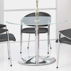 ROUND GLASS CONFERENCE TABLE Designer Modern Office with Optional Meeting Chairs #OfficePope #GlassMeetingTable