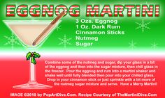EGGNOG CHRISTMAS MARTINI recipe on a Free Recipe Card - Click the image for the Full Sized, Print Quality Recipe Card!