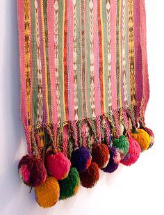 pom pom shawl Lizzie Fortunato brought back from a trip to Guatemala Guatemalan Textiles, Textile Patterns, Textile Design, Textile Art, Textiles Mexicanos, Pom Pom Trim, Passementerie, Boho Decor, Art Du Fil