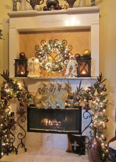 Embellishments by SLR: Christmas 2011 Mantel Christmas Fireplace, Christmas Mantels, Christmas Love, All Things Christmas, Christmas Tree Decorations, Victorian Christmas, Merry Christmas, All Holidays, Christmas Holidays