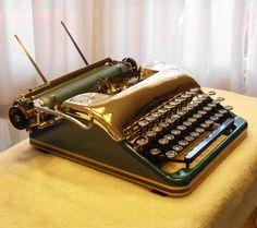 RESTORED TYPEWRITER 1948 SMITH-CORONA STERLING in TURQUOISE & GOLD w/TURBOPLATEN #SmithCorona