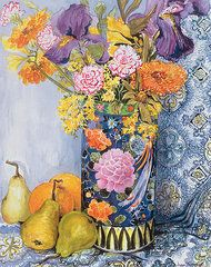 Floral Art -  Iris and Pinks in a Japanese Vase with Pears by Joan Thewsey