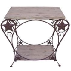 Western Style Star Detail Wood and Metal Out West Finish Hall Table