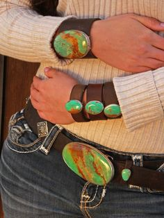 Blues & Seafoams. Petite perfect oval vintage leather cuff, with sterling silver bezel setting and natural Kingman, AZ turquoise. Choose from blue or green tones. Placed on 1 inch vintage saddle leather, each piece an individual work of art.