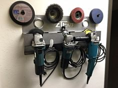 Let's See Your Angle Grinder Holders! - WeldingWeb™ - Welding forum for pros and enthusiasts Power Tool Storage, Garage Tool Storage, Garage Tools, Jeep Garage, Garage Shop, Metal Bending Tools, Metal Working Tools, Welding Shop, Welding Table