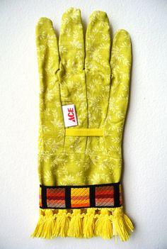 designer gardening gloves. Designer Garden Gloves  As seen in Better Homes and Gardens DIY Magazine Yellow Orange Stripes Fringe One Size