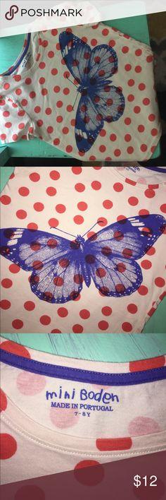 Mini Boden butterfly tshirt Mini Boden blue butterfly polkadot T-shirt. Mini Boden Shirts & Tops Tees - Short Sleeve