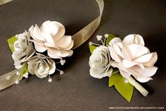 paper flower corasge + boutonniere