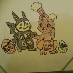 I drew these pokémon like this for Halloween