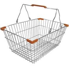 """Provide your customers optimal shopping convenience with this 18"""" x 13"""" chrome shopping basket! A perfect addition to delis, supermarkets, convenience stores, and any other retail operation where carrying assistance is needed, this basket is just what your shoppers are looking for! Made of durable, easy to clean chrome-plated metal, this basket is built to last through the multiple daily uses in your highly trafficked establishment. Ideal for the shopper looking for a few quick purc..."""