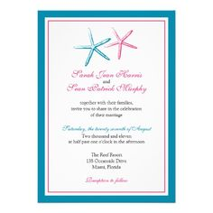 Two Starfish Peacock and Pink Wedding Custom Invitation
