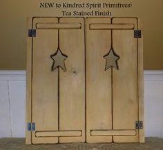 Kindred Spirit Primitives Primitive Wooden Shutters and Shelves Wooden Shutters, Tea Stains, Kindred Spirits, Primitives, Armoire, Shelves, Furniture, Home Decor, Ideas