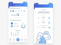 Water remainder, app by Sara Miguel del Amo - Design Mobile App Design, Mobile Ui, Wallpaper Inspiration, App Design Inspiration, Water Reminder App, Material Design, Sports App, App Store, Android Ui