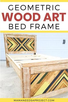 Put your pile of scrap wood to use and build geometric wood art to add to a simple bed frame. Learn the whole process of creating a DIY twin bed frame with geometric wood art designs on the headboard and footboard.  Build the perfect bed for your kids! Awesome Woodworking Ideas, Woodworking Tutorials, Woodworking Projects For Kids, Popular Woodworking, Woodworking Wood, Diy Twin Bed Frame, Simple Bed Frame, Wood Headboard, Headboard And Footboard