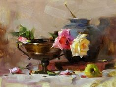 """Daily Paintworks - """"Putney Roses"""" - Original Fine Art for Sale - © Qiang Huang"""