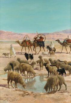 Albert Gabriel RIGOLOT. (1862-1932) Moutons dans l'Oued Huile sur toile,