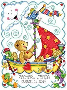 "Tobin Counted Cross Stitch Kit 11"" x 14"" Birth Record ~ SAIL AWAY BABY #21772"