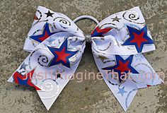 3 Width Cheer Bow 7x6.5 Texas Size Red White Blue Cheer by JustImagineThatBows