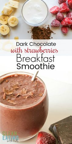 Dark Chocolate and Strawberry Smoothie Clean Eating Chocolate & strawberry Smoothie. Dairy-free, and nut-free (yup) but it tastes bloody amazing! The family (even the fussy ones) will love this one. Chocolate Strawberry Smoothie, Strawberry Breakfast, Breakfast Recipes, Snack Recipes, Snacks, Drink Recipes, Yummy Recipes, Recipies, Healthy Smoothies