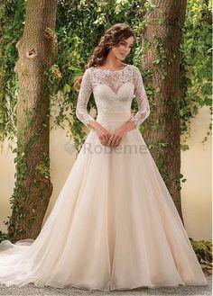Robe de mariée a-ligne manche longue appliques avec manches sexy                                                                                                                                                     Plus