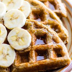 EASY Blender Banana and Rice Gluten Free Waffles! Just blend and pour for these dairy free and freezer friendly Waffles. Vegan Option.