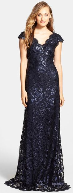 Tadashi Shoji Sequin Lace Gown